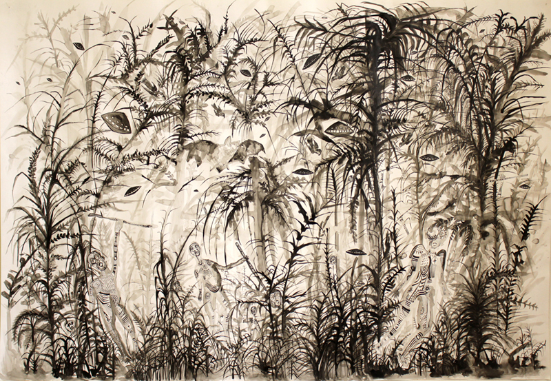 Zoi Gaitanidou, Attack, 2007, Ink on paper, 27 1/2 x 39 1/4 in